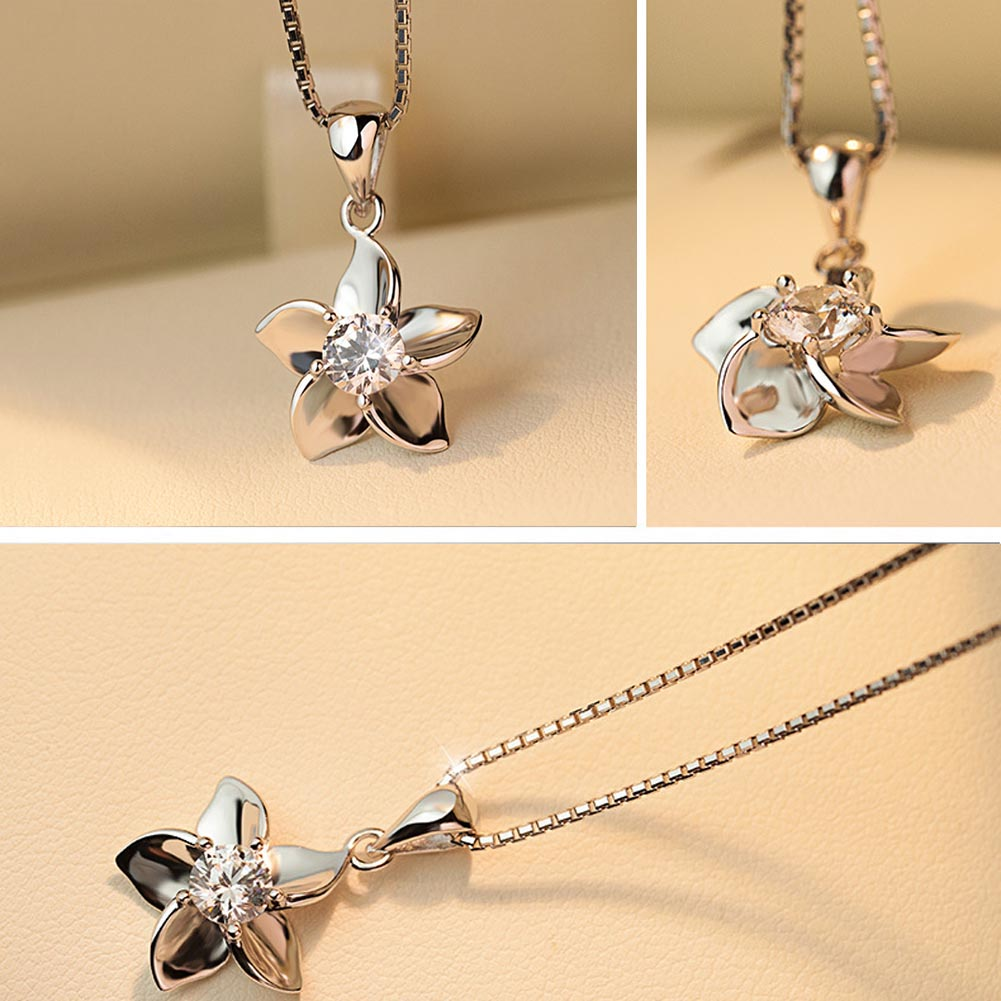 Without Chian Lovely  Silver Plated Statement Pendant  Five Petals Flower Pendant For Women Jewelry  bijoux