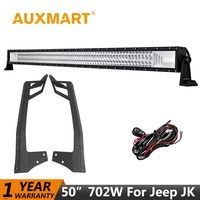 For Jeep Wrangler Offroad LED Light Bar 52 Inch 500W CREE 5D Combo Beam Windshield Mounting