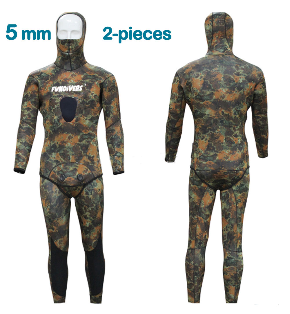 5mm  Two-Piece Design Professional Spearfishing Diving Sport Full Men's Wetsuit Neoprene Camouflage Stretch Wet Suit Wetsuit