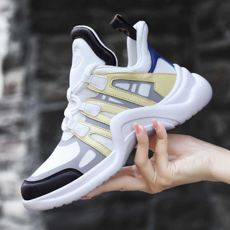 Ayakkabı Kadın Tasarımcı Sneakers rahat ayakkabılar 2018 Hakiki Deri ve Likra Kadın Daireler Ayakkabı yürüyüş ayakkabısı vulkanize ayakkabı