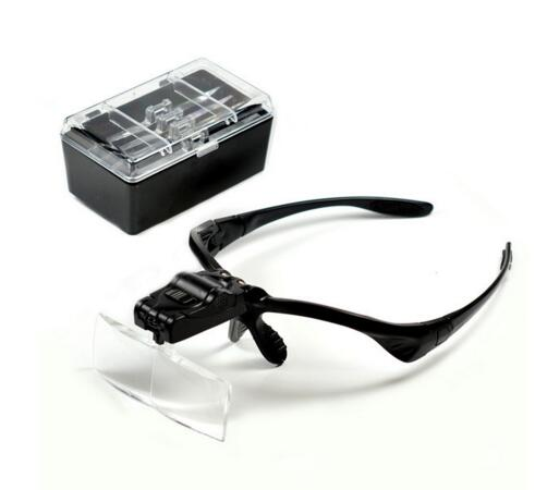 Headband Magnifying Glass Eye Repair Magnifier 2 LED Light 1.0/1.5/2.0/2.5/3.5X 5PC Glasses Loupe Optical Lens (NO BATTERY)