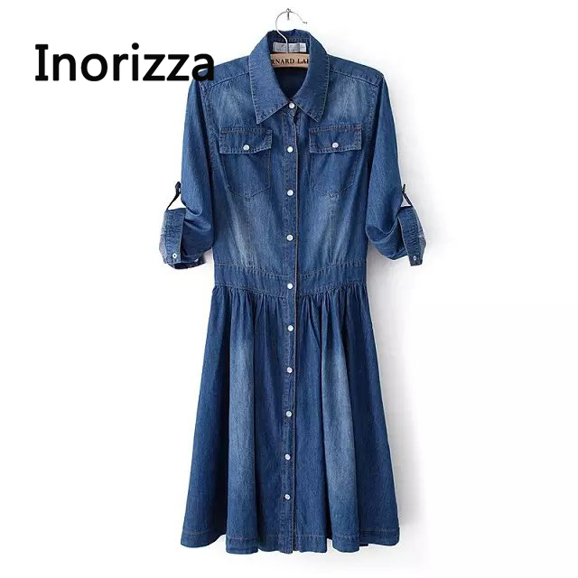 2020 Spring New Style Women Vintage Fashion Plus Size Dress, Female Elegant Casual Quality Jeans Vestidos Slim Denim Dresses