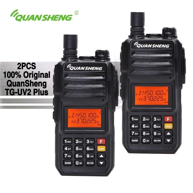 2 pcs QuanSheng TG-UV2 Plus Talkie Walkie 10 km 10 W 4000 mAh Jambon Radios Portatiles Uhf Vhf Radio Ham hf Émetteur-Récepteur CB 2 Way Radio