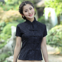 Sexy Black Lace Women's Summer Short Sleeve Blouse Chinese Vintage Button Shirt Mandarin Collar Clothing M L XL XXL XXXL 2520-1