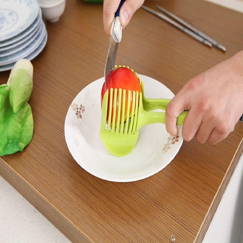 1PCS Lemon Tomato Potato Slicer Plastic Cutter Hand Holding Vegetable Cutter