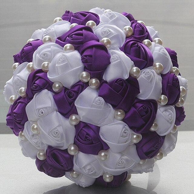 New Cheap Romantic Purple White Color Pearls Beaded Bridal Wedding ...