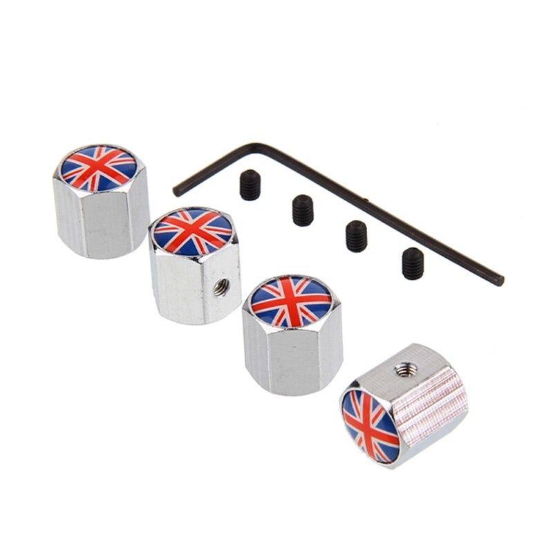 4pcs Set England Flag Logo Anti Theft Valve Caps Silver Wheel Tire