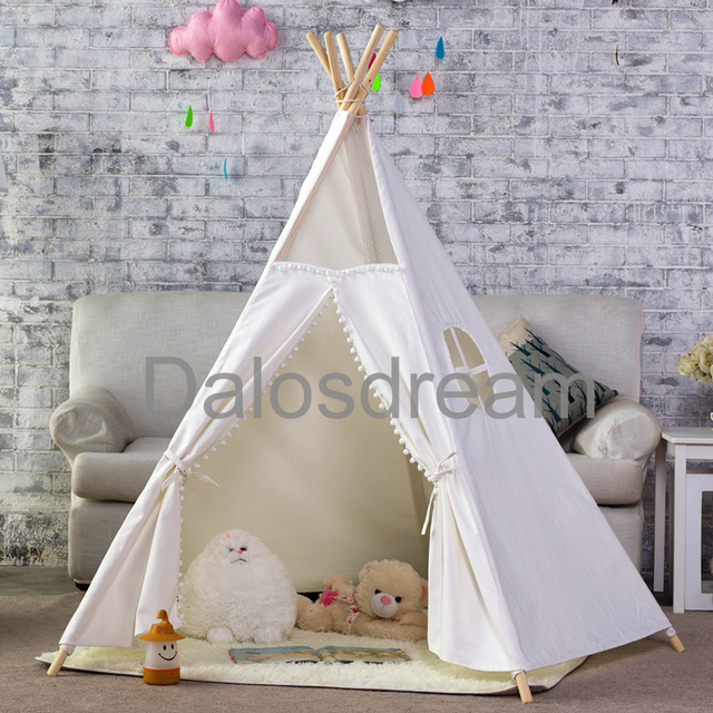 Dalosdream Indian Tipi Tent Five Poles Kids Teepee 100% Cotton Canvas Indoor Tent For Kids & Dalosdream Indian Tipi Tent Five Poles Kids Teepee 100% Cotton ...