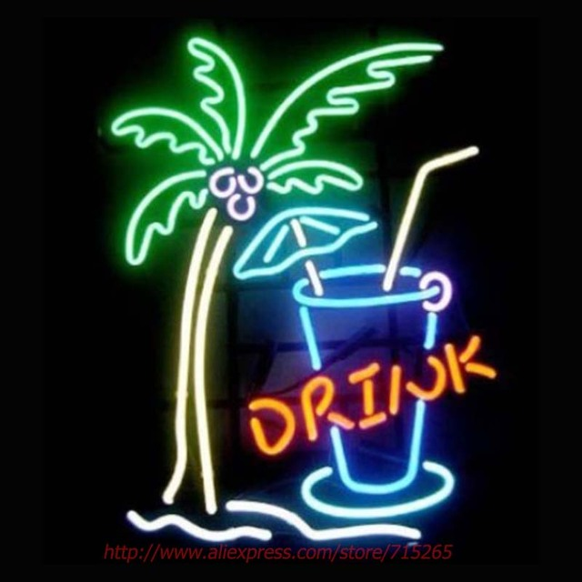 Drink Palm Tree Neon Sign Neon Bulbs Led Sign Real Glass Tube Lamp ...