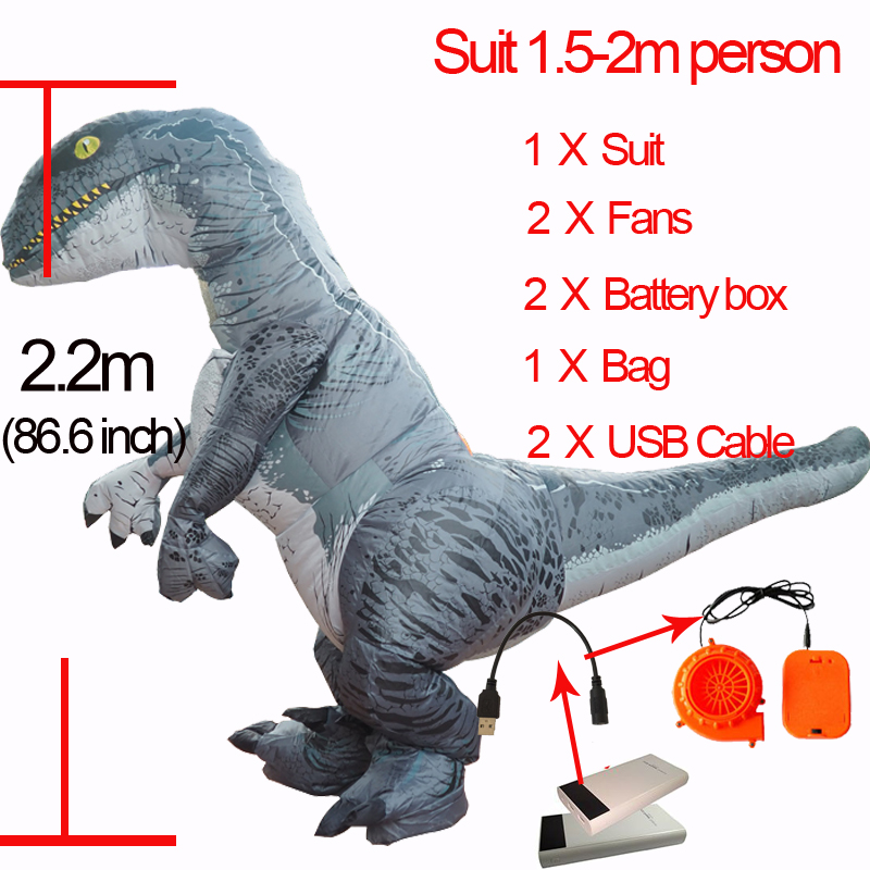Cosplay Inflatable Velociraptor Costume Halloween Dinosaur T REX Costume For Women Men Raptor Fancy Dress Suit Jurassic Dinosaur