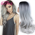 HANNE Ombre Color 1B/Gray Long wave Heat Resistant Synthetic Cosplay Full soft Wig for Women Party Wig black to Gray wig sale
