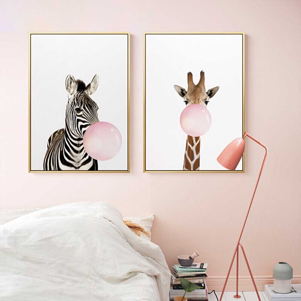BIANCHE WALL Baby Animal Zebra Girafe Canvas Poster Nursery Wall Art Print Painting Nordic Picture Children Bedroom Decoration