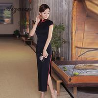 2018 High Quality Black Cheongsam Sexy Qipao Long Traditional Chinese Dress Oriental Style Dresses Boocre Robe Longue Chinoise