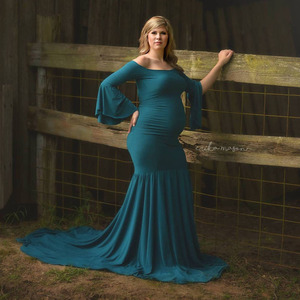 Image 2 - Schulterfrei Mutterschaft Kleider Für Foto Schießen Mutterschaft Fotografie Requisiten Maxi Schwangerschaft Kleider Für Schwangere Frauen Kleidung