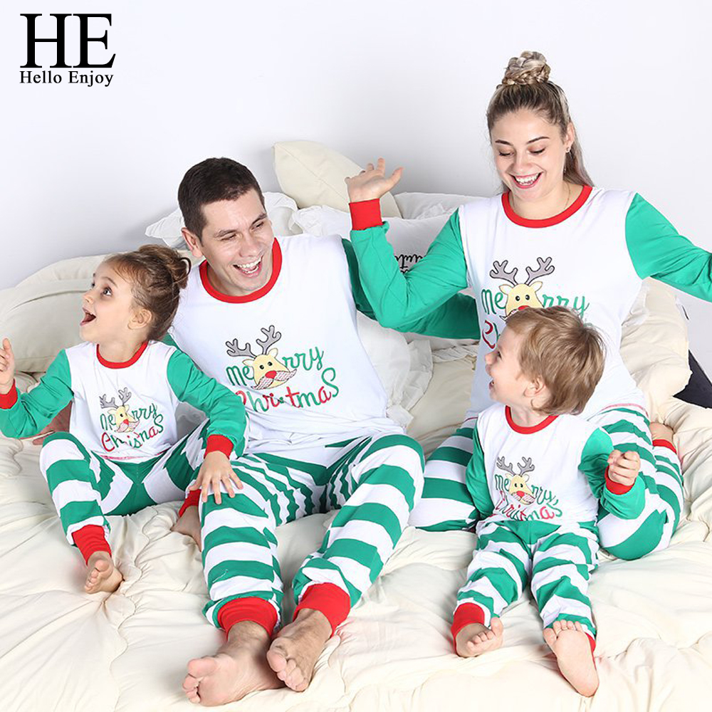 HE Hello Enjoy Christmas Family Pajamas Winter Mother Daughter Father Son Matching Outfits Long Sleeve Stripe T-shirt+Pant Suits long sleeve 3d father christmas and roof print t shirt
