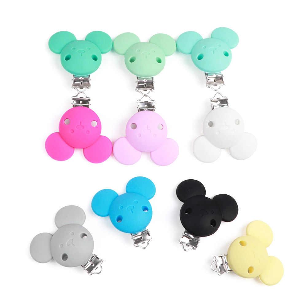 TYRY. HU Mickey Minnie Mouse Clips Não-Oxidado Grânulos de Silicone Chupeta Clipe Cadeia Manequim Do Bebê Chew Adaptador 1 PC Fácil para Anexar a Roupa