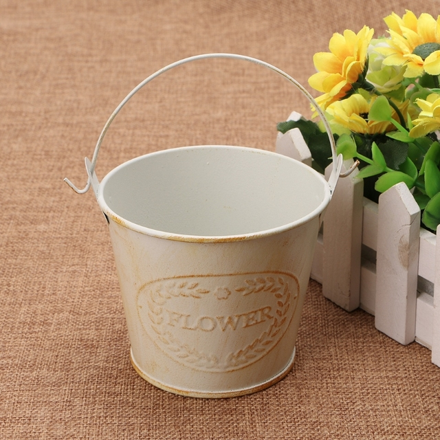Creative Vintage Galvanised Metal Iron Flower Shabby Vase Pot Barrel