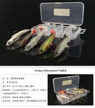 High quality lifelike 5pcs set long tail lead fish fishing lurestackle soft bait bass baits Grubs Treble Hooks case Storage box