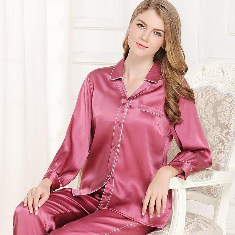 Otoño Women100 % de satén de seda conjuntos de pijama 2019 de manga larga de color sólido ropa de dormir conjunto de dos piezas de gran tamaño L-2XL pijamas de 4 colores