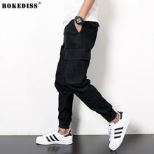 Herren pluderhosen schwarze jeans für männer hip hop baggy straße kleidung männer Denim Cargo Pant Männlichen Mode Biker Jogg Jeans TC454