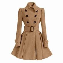 Женское пальто средней длины, модное классическое двубортное пальто с поясом, утолщенное пальто высокого качества, повседневная верхняя одежда