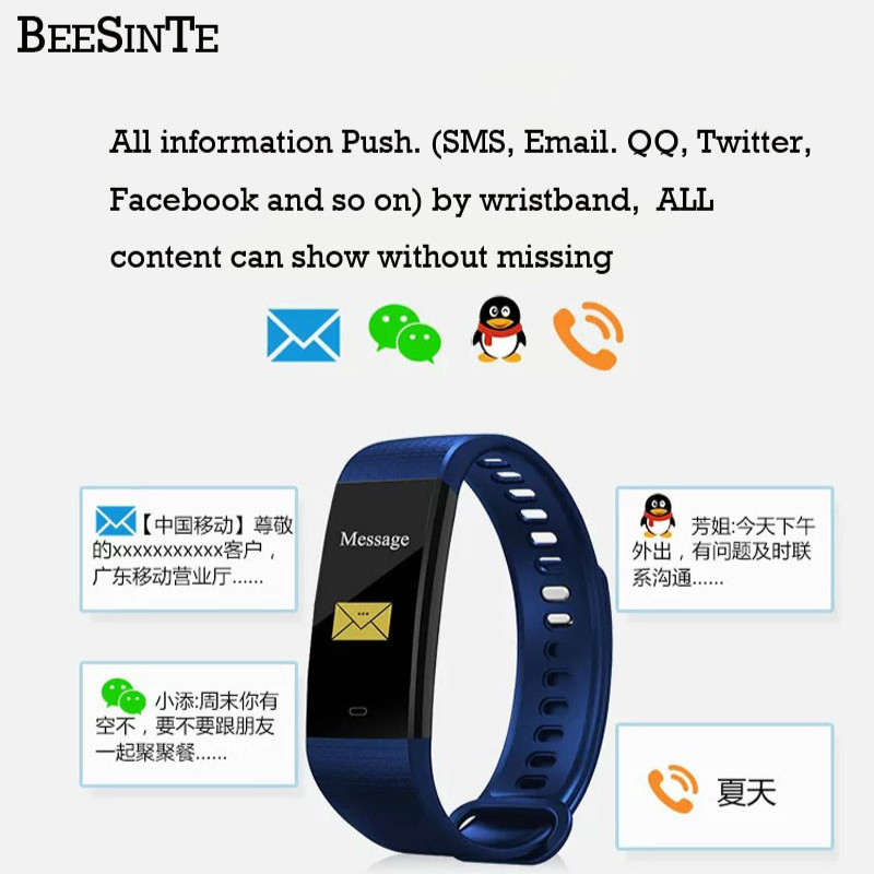 Image 2 - Bluetooth smart watch waterproof heart rate monitor blood pressure blood oxygen measurement fitness activity tracker Notificatio-in Smart Wristbands from Consumer Electronics