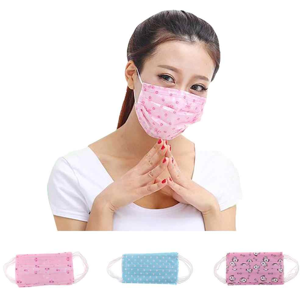 10Pcs Cute Women's Face Mask Fashion Cartoon Disposable Breathable Medical Surgical Dust Ear Loop Face Mouth Masks