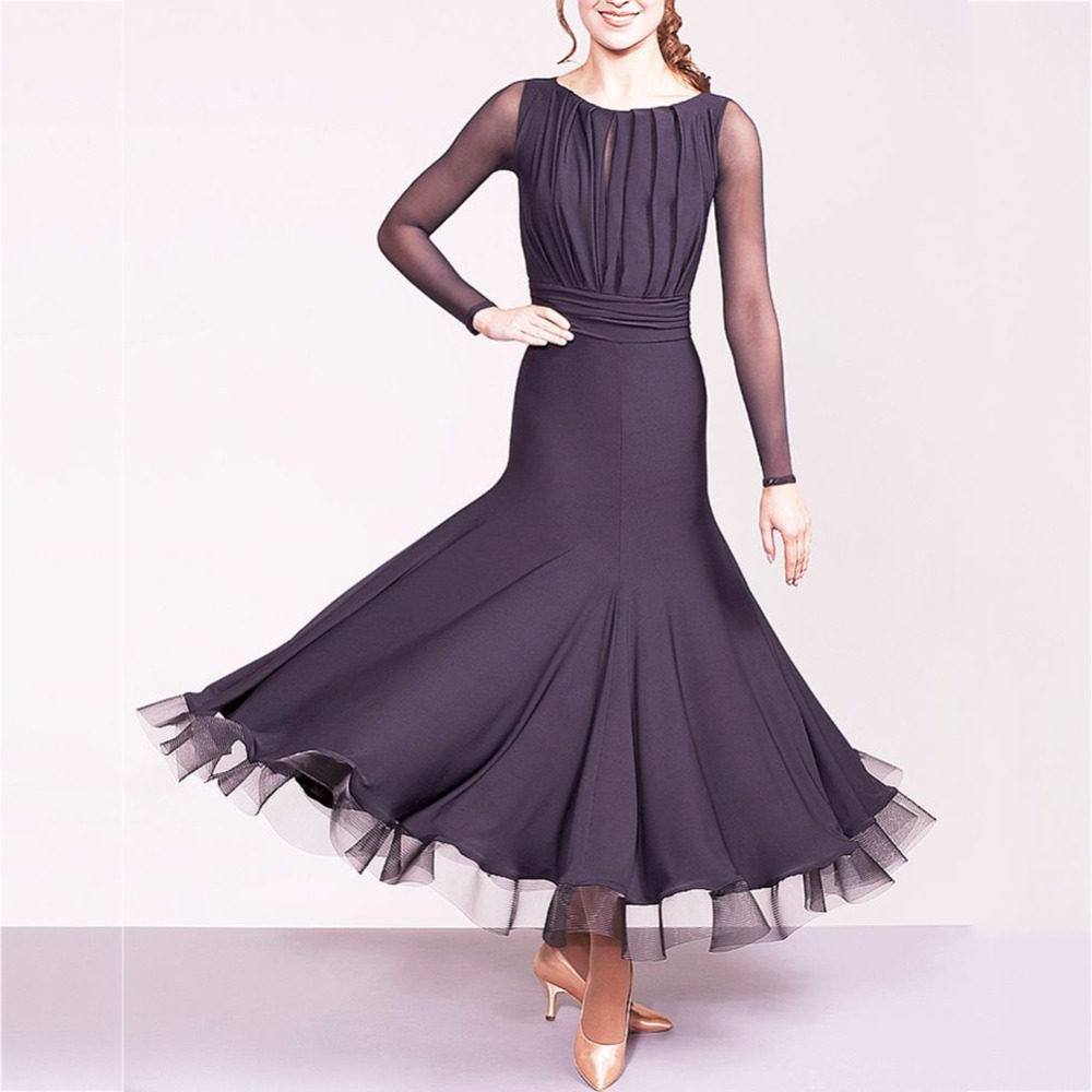 Sexy Latin Dancing Dresses For Ladies Black Colors Silk Skirts Women Adult Chacha Indian Ballroom Professional