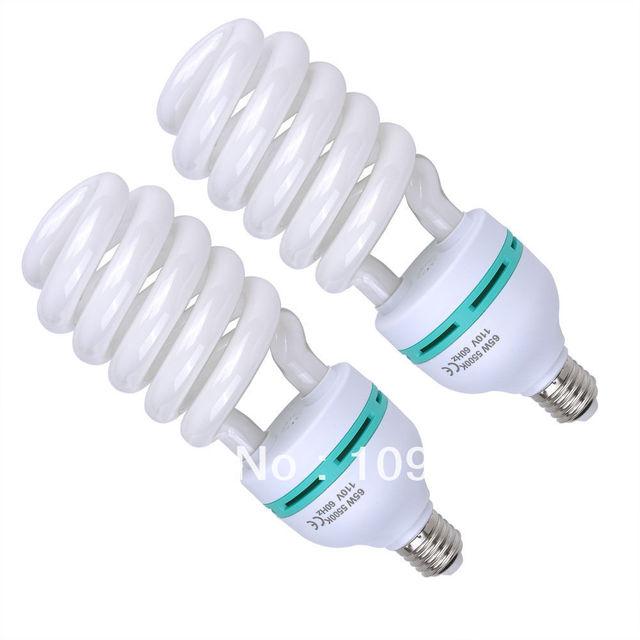 2x 65W 5500K Photo Studio Energy Saving Day Light Bulbs Compact Fluorescent Lamp