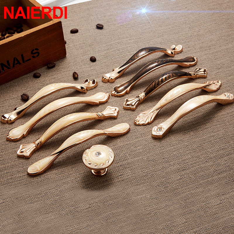 NAIERDI Modern Walnut Cabinet Handles Zinc Alloy European Style Cabinet Pulls Drawer Knobs Wardrobe Door Handle Furniture Handle in Cabinet Pulls from Home Improvement