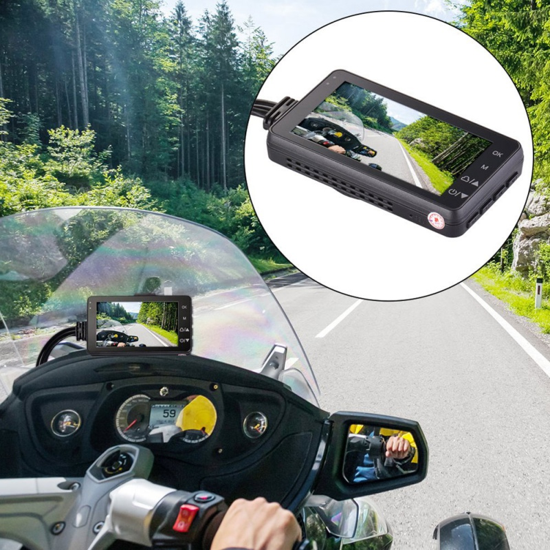 Motorrad Schwarz Box Kamera DVR Motor Dash Cam Mit Spezialisiert Dual-verfolgen Vordere Hinten Recorder Camara Para Casco