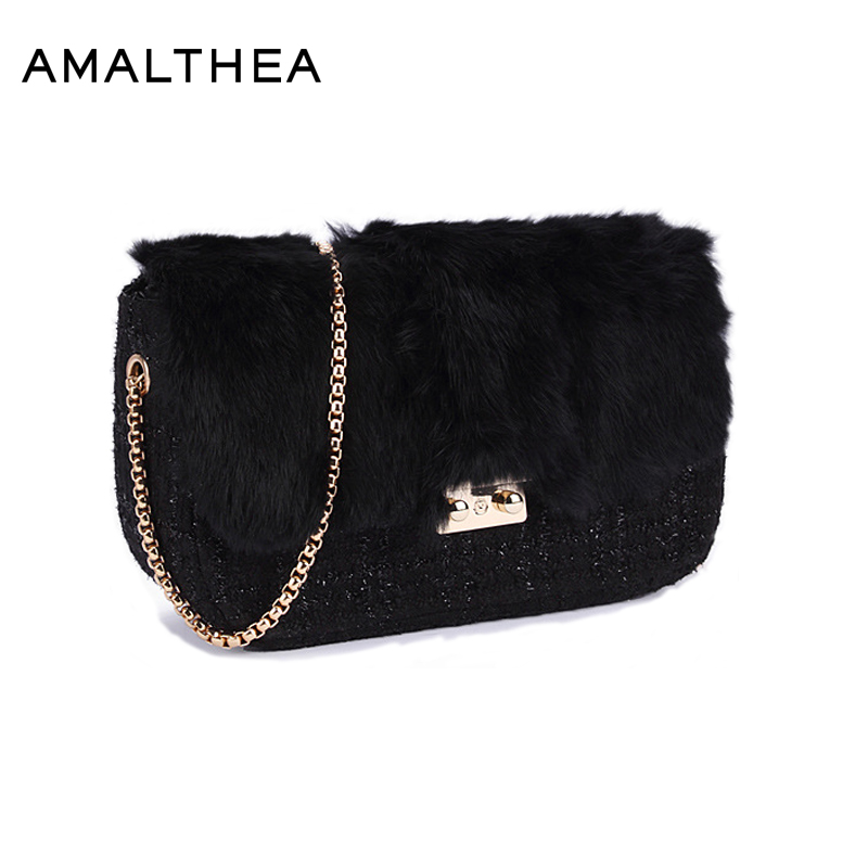 AMALTHEA Brand Bags Women Rabbit Faux Fur Shoulder Bags For Woman Messenger Bag Small Womens Designer Handbags High Quality Bag women messenger bags day clutches bag designer rabbit fur shoulder bags for party handbags women small evening bags bolsos a0325