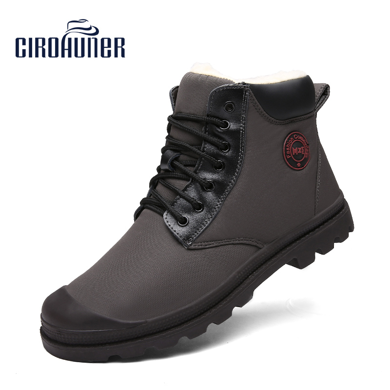 CIROHUNER Mens W Boots Waterproof Snow boots Men Causal Warm Boots Plush Ankle Work Shoes Blakc and Gray Colors minglilai blakc sliver 37