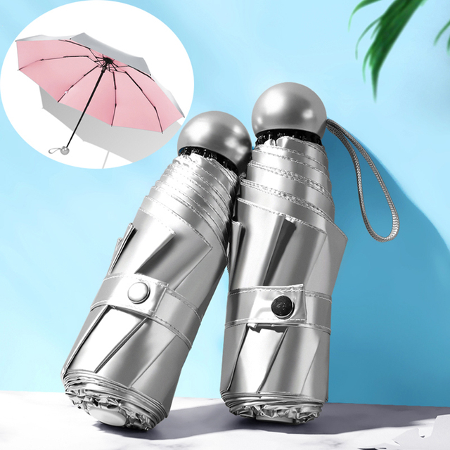 8 costelas Bolso Mini Umbrella Anti UV Umbrella Sol Chuva Paraguas Luz Prova de Vento Port