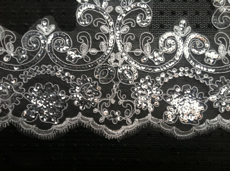 8Yards Width 18cm White Guipure Lace Fabric Luxury Sequins Lace Trim - Arts, Crafts and Sewing - Photo 2