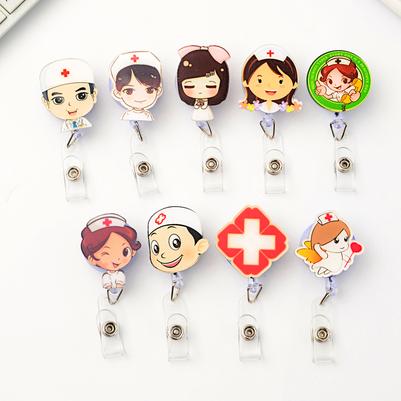 Cute Retractable Badge Reel Student Nurse Exhibition ID Name Card Badge Holder Office Business Supplies