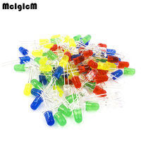 100pcs 5mm LED Diode Light Assorted Kit DIY LEDs Set White Yellow Red Green Blue Free