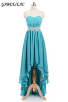 New Turquoise Hi Lo Chiffon Bridesmaid Dresses 2018 Lace Belt Plus Size Wedding Party Gown Maid of Honor Long Prom Dress