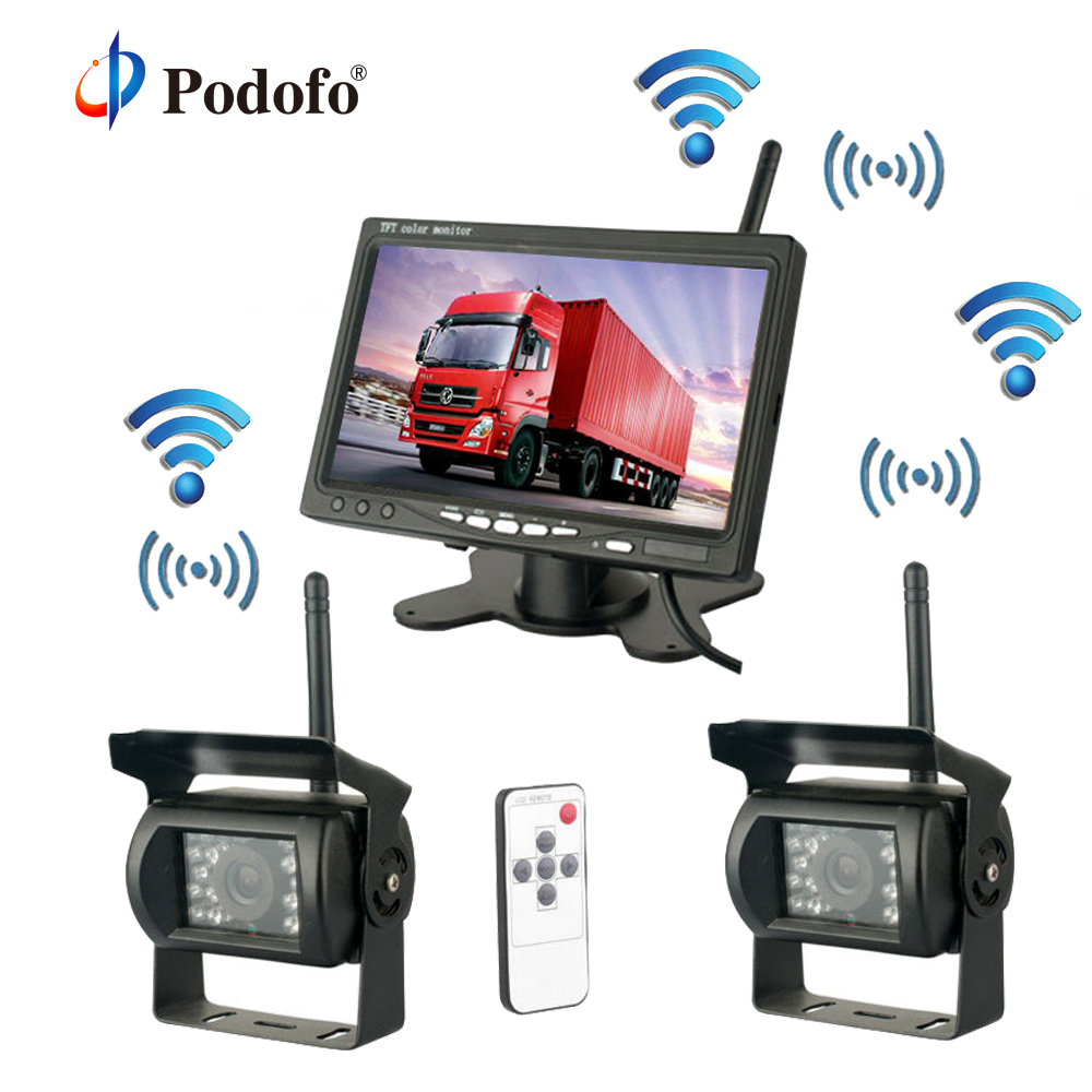 Podofo Wireless Dual Rear View Backup Reversing Cameras Waterproof IR Rearview Camera 7 Monitor Kit for RV Truck Trailer Bus wireless dual backup cameras parking assistance night vision waterproof rear view camera 7 monitor for rv truck trailer bus