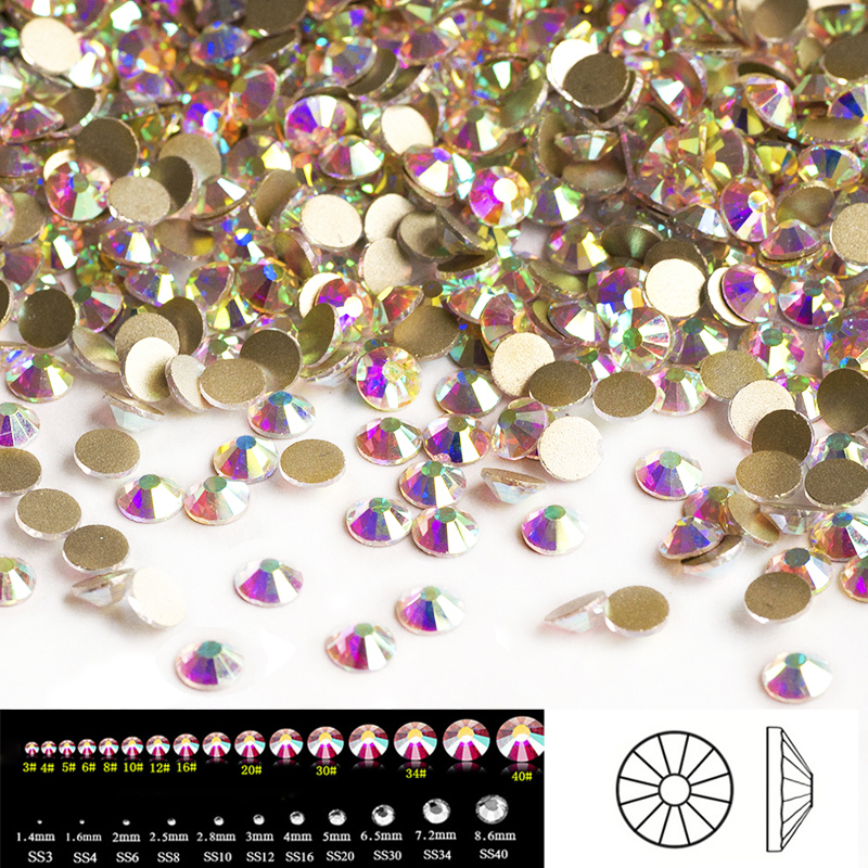 2058NoHotFix SS3-SS50 Crystal AB Glitter Nail Art Decorations Flatback Rhinestones for Nails Decor Everything for Manicure glass rhinestones for nails strass nail art nail decorations new arrive manicure rhinestones on nail jewelry mjz0035