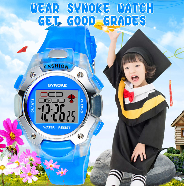 2018 Hot Sale Children Watch SYNOKE Multi-Function 30M Waterproof Watch LED Digi