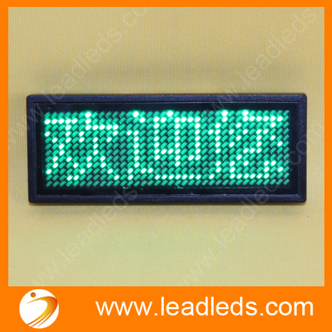 Green Led Mini Badge With USB Cable Programmable Rechargeable Led Scrolling Name Tags