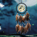 Wolf Dream Catcher Feather Bead Home Living Room Hanging Decor Ornament Handmade Art Crafts Dreamcatcher