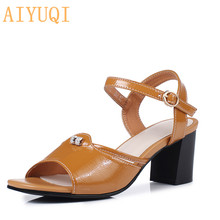 AIYUQI Sandals women high heel 2019 new womens sandals genuine leather fashion Open toe Roman style summer shoes for