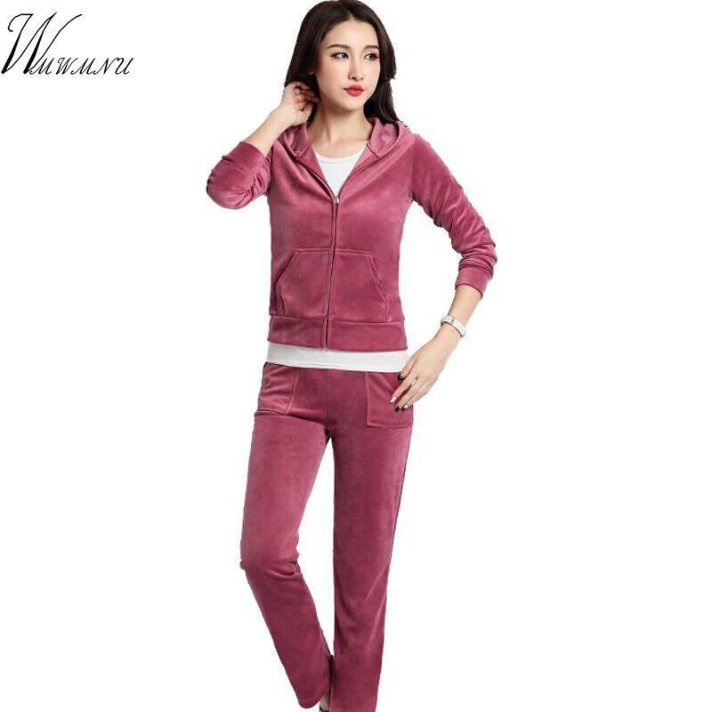 Velvet Fabric Tracksuit Pant Suits 2019 Women Autumn Plus Size Casual 2Pcs Velour Suit Women Track Suit Hoodies And Pants Black