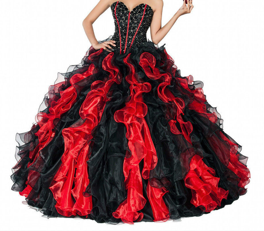 Black And Red Wedding Gowns: 2017 Vintage Long Ball Gown Black And Red Gothic Wedding