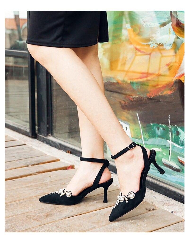 Mujer Chaîne Bout Femmes Sexy Troupeau Sandalias Pointu Cristal Perle Fée Spartiates Mince Black Noir Sandales Talons URqqntCwxz
