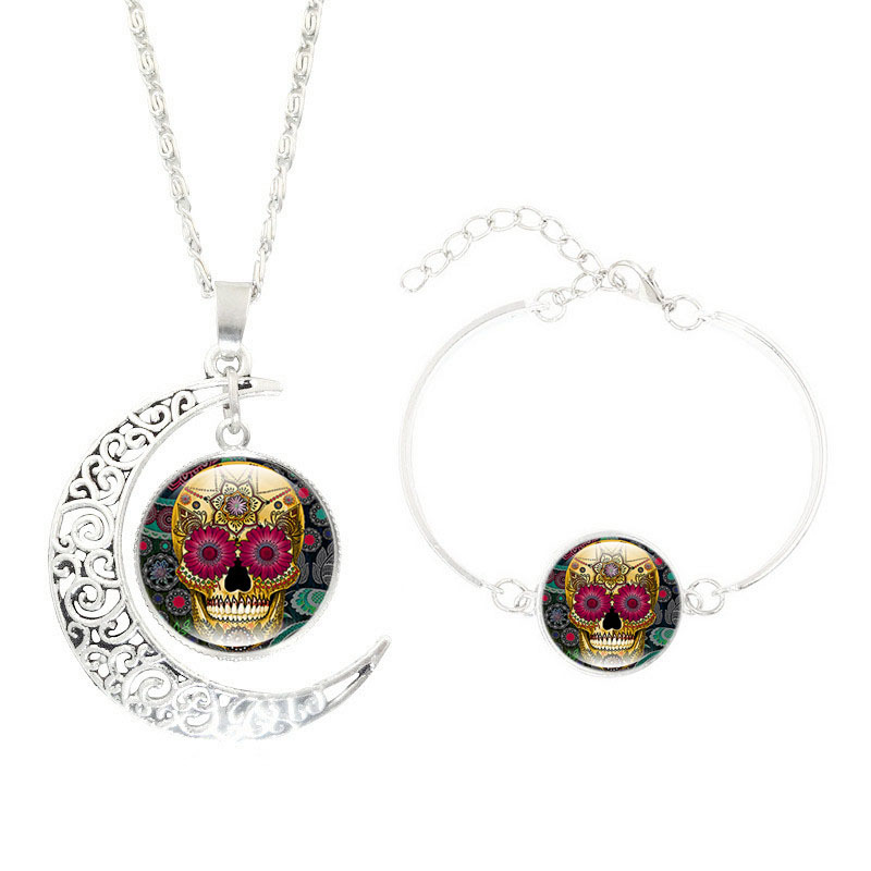 Punk Style Jewlery Set with Silver Plated Crescent Glass Cabochon Skull Pattern Choker Necklace&Bracelet Bangles Set for Women