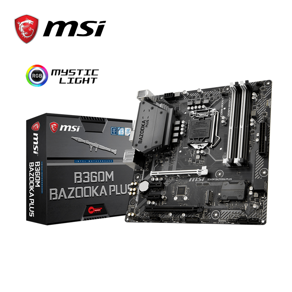 Motherboard Msi B360M BAZOOKA PLUS 64G PC-Chipset 4xSATA C8-Channel HD Audio DDR4
