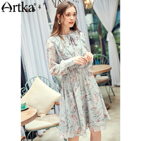 ARTKA 2018 Autumn New Ladies Print Long Sleeve Slim Waist Round Neck Drawstring Long Chiffon Dress LA15086Q